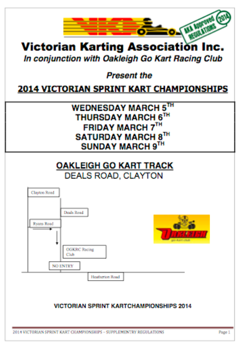 2014 VIC CHAMPS. SUPPLEMENTARY REGS APPROVED