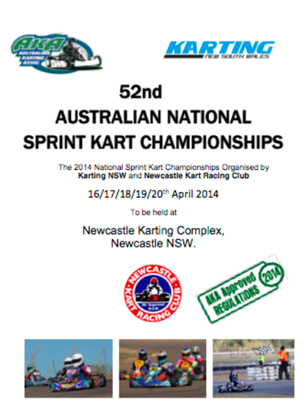 52nd AKA  NATIONAL SPRINT KART CHAMPIONSHIPS SUP REGS APPROVED  24 Jan 2014