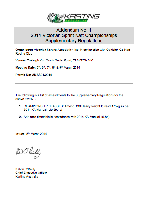 Addendum 1 to Sup Regs 2014 VIC State Champs