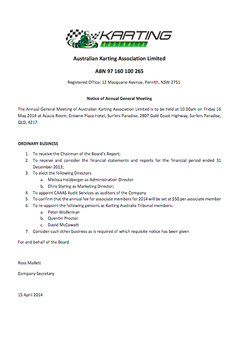 2014-04-15 Australian Karting Association Limited 2014 Notice of AGM
