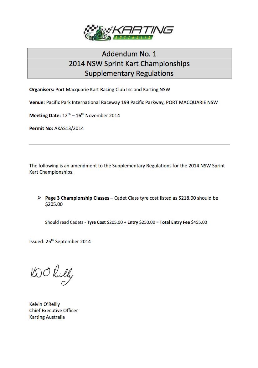 Addendum 1 to Sup Regs 2014 NSW State Championships Port Macquarie